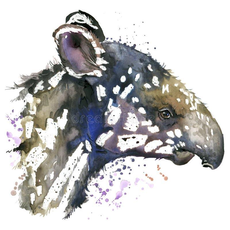 Filhote do tapir da aquarela ilustração stock