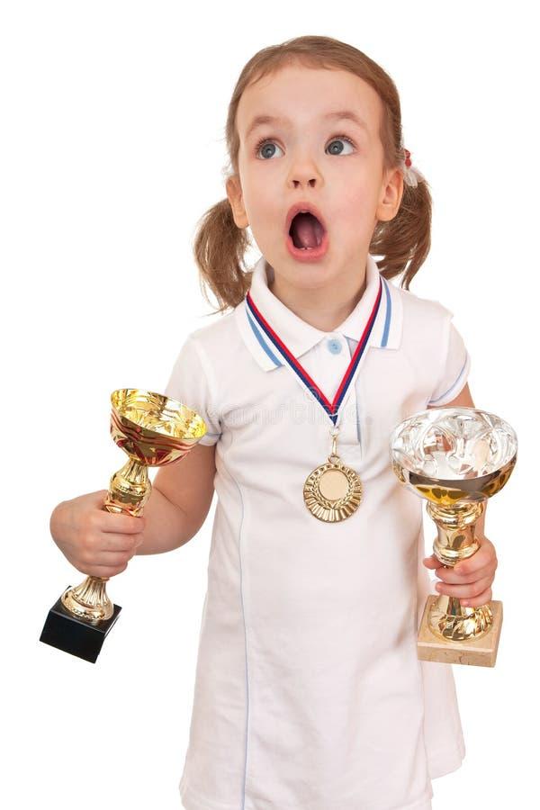 filiżanek dziewczyny złoty medal zdjęcia stock
