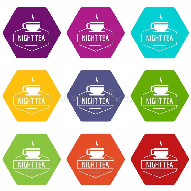 Filiżanek herbaciane ikony ustawiają 9 ilustracji