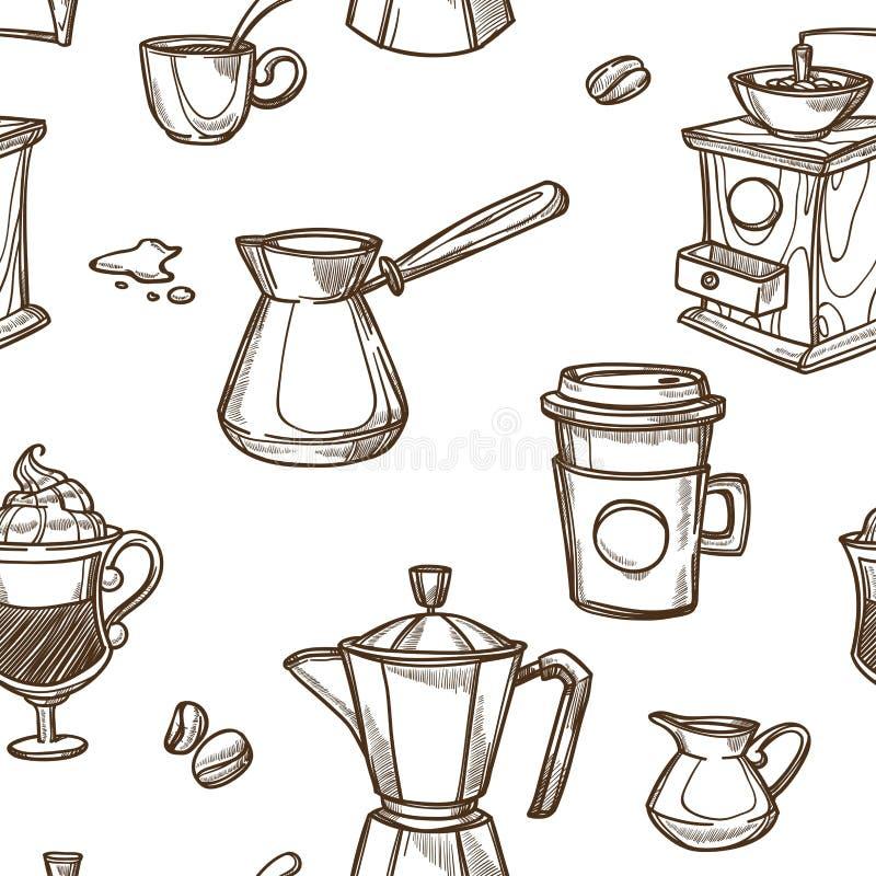 Filiżanek i fasoli nakreślenia wzoru tło Wektorowi bezszwowi kawowi producenci ilustracji
