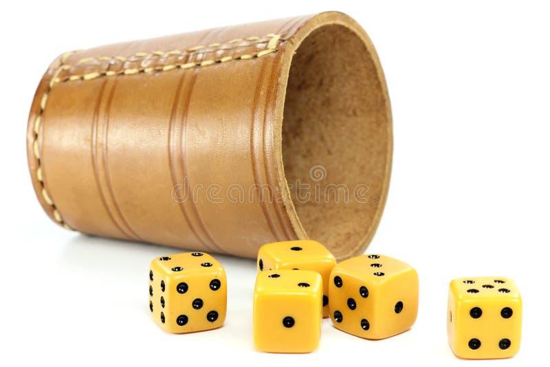 filiżanek kostka do gry dices zdjęcie royalty free