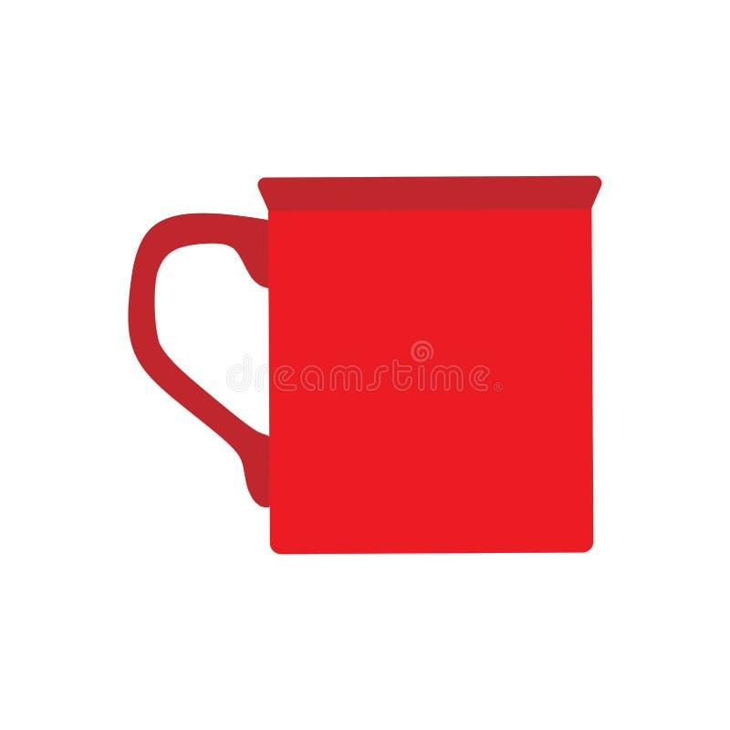 Filiżanka bocznego widoku zbliżenia kawowy czerwony wektorowy płaski znak Czekoladowego napoju aromata gor?cy restauracyjny kubek ilustracja wektor