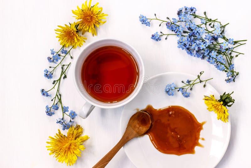 Filiżanka czarna herbata z miodem i kwitnie ja i dandelions na białym tle zdjęcia stock