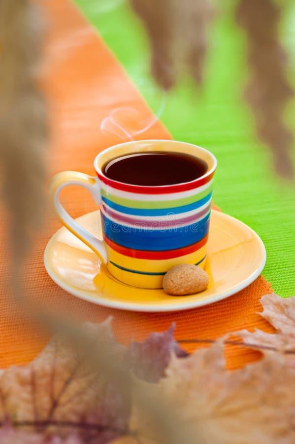 Filiżanka dekatyzaci czarny kawa na Jesień ranek obraz royalty free