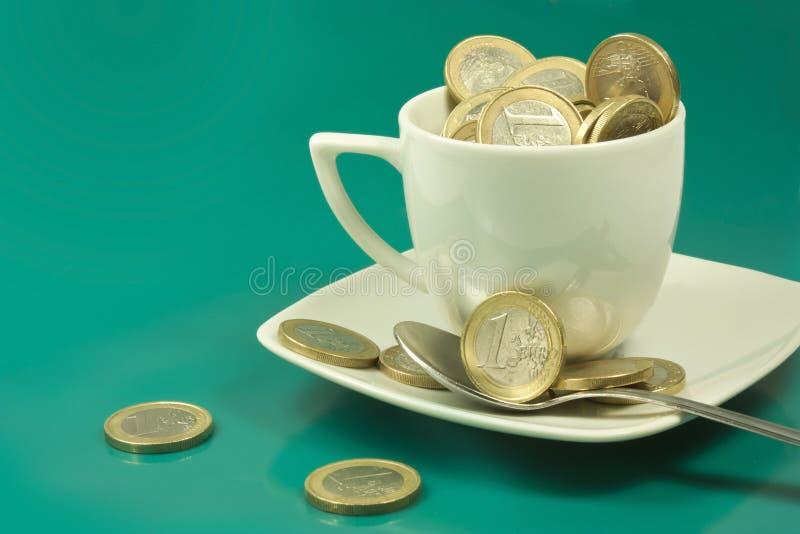 Filiżanka euro zdjęcia royalty free