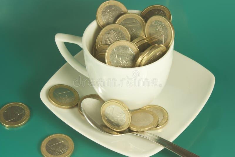 Filiżanka euro obraz stock