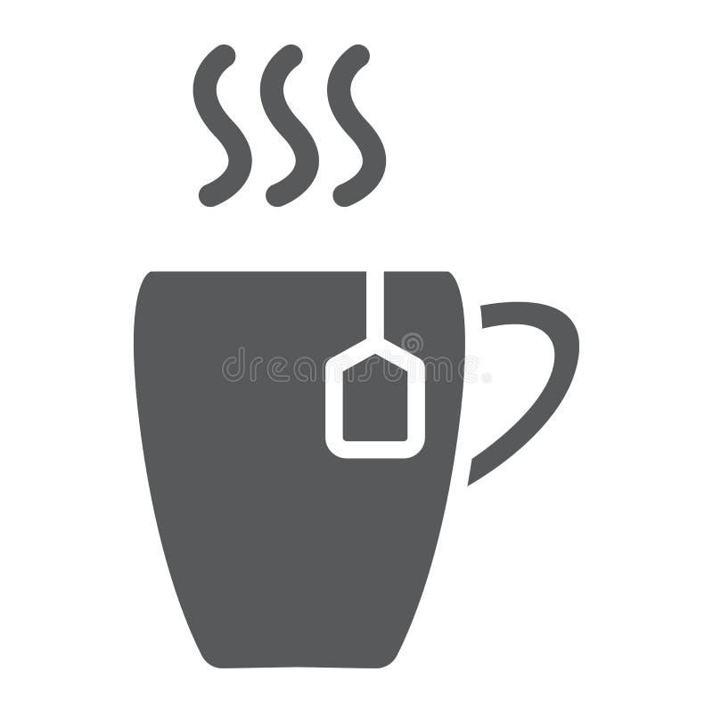 Filiżanka glifu ikona, jedzenie i napój, gorący herbata znak, wektorowe grafika, bryła wzór na białym tle ilustracja wektor