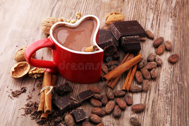 Filiżanka gorąca czekolada, cynamonowi kije, dokrętki i czekolada, fotografia stock