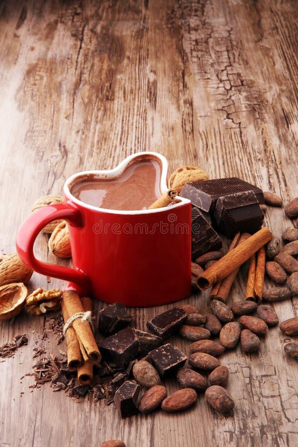 Filiżanka gorąca czekolada, cynamonowi kije, dokrętki i czekolada, zdjęcia royalty free