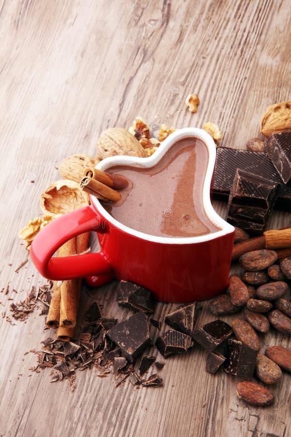 Filiżanka gorąca czekolada, cynamonowi kije, dokrętki i czekolada, zdjęcia stock