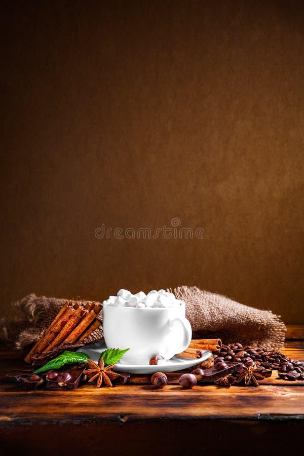 Filiżanka gorąca czekolada, cynamonowi kije, dokrętki i czekolada, dalej zalecamy się zdjęcia royalty free
