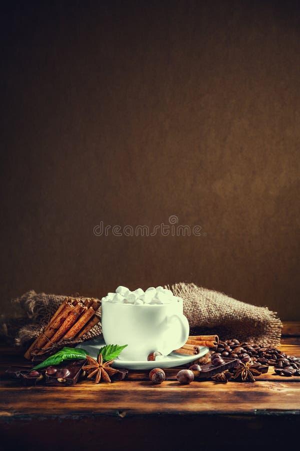 Filiżanka gorąca czekolada, cynamonowi kije, dokrętki i czekolada, dalej zalecamy się obraz royalty free