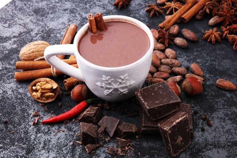Filiżanka gorąca czekolada, cynamonowi kije, dokrętki i czekolada na dar, zdjęcie stock