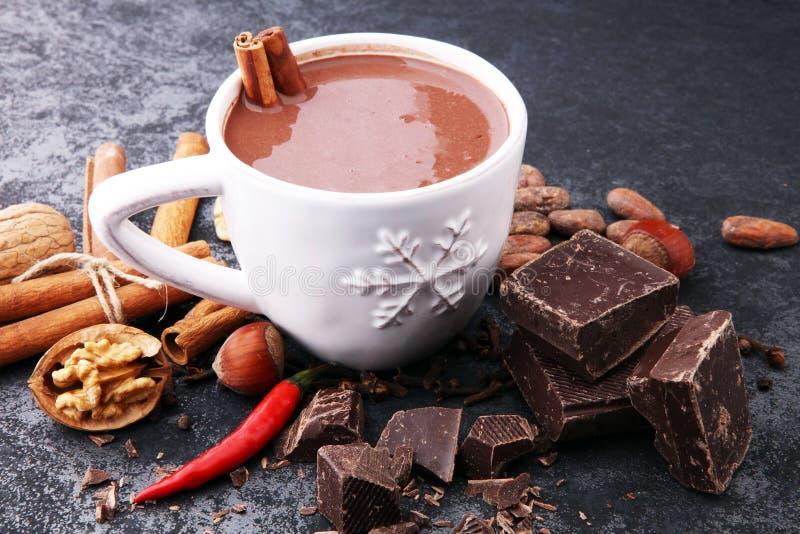 Filiżanka gorąca czekolada, cynamonowi kije, dokrętki i czekolada na dar, zdjęcia royalty free