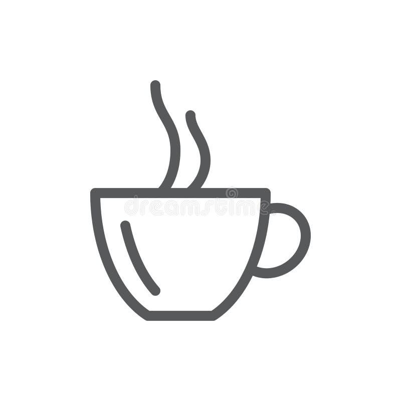 Filiżanka gorąca kawa lub herbata z parową ikoną z editable uderzeniem odizolowywającym na białym tle ilustracja wektor