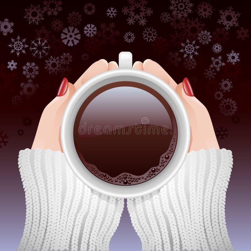 Filiżanka gorąca kawa w zimnym sezonie royalty ilustracja