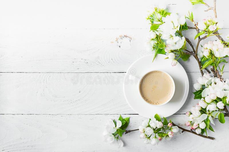 Filiżanka gorące aromatyczne kawy i kwitnąć gałąź jabłoń na drewnianym białym tle Mieszkanie nieatutowy fotografia royalty free