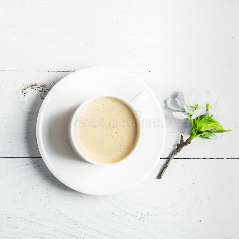 Filiżanka gorące aromatyczne kawy i kwitnąć gałąź jabłoń na drewnianym białym tle Mieszkanie nieatutowy fotografia stock