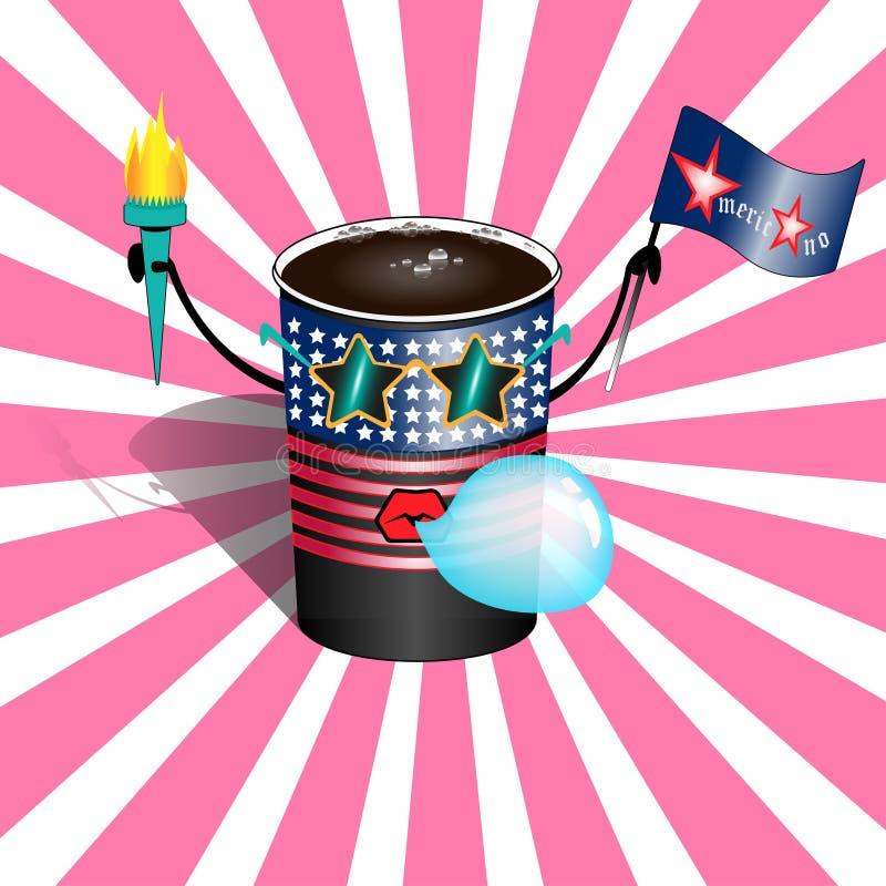 Filiżanka gorący americano w rocznik kreskówki wystrzału sztuki komicznym stylu Postać z kreskówki filiżanka kawy Americano w ilustracji