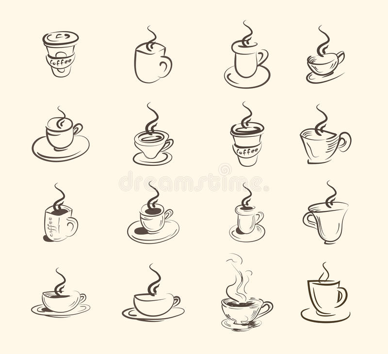 Filiżanka gorący napój, kawa, herbata, etc, duży set ilustracji