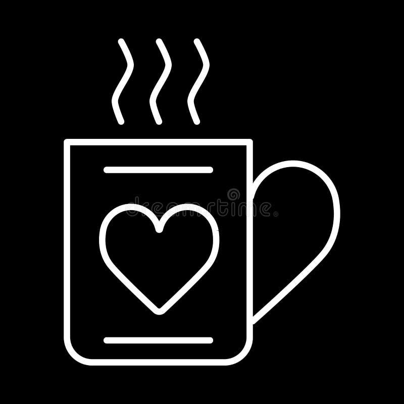 Filiżanka gorący napoju i serca ikony wektor, mieszkanie znak, konturu piktogram odizolowywający na czerni Miłości i valentine `  ilustracja wektor