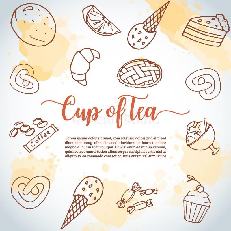 Filiżanka herbaciany tło Słodki ciasto, babeczki, deserowy plakat z czekoladowym tortem, cukierki Lody ręka rysujący nakreślenie ilustracja wektor