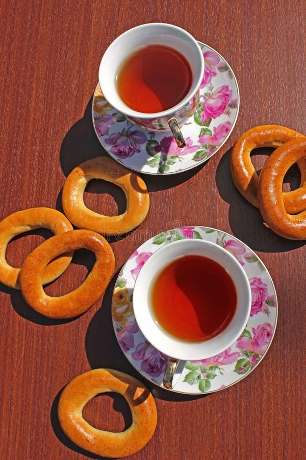 Filiżanka herbata i bagels obraz stock