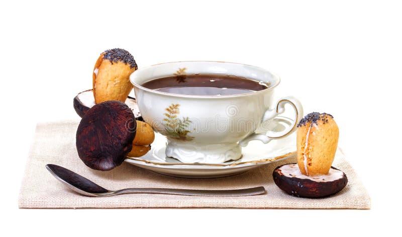Filiżanka herbata i ciastka zdjęcie stock