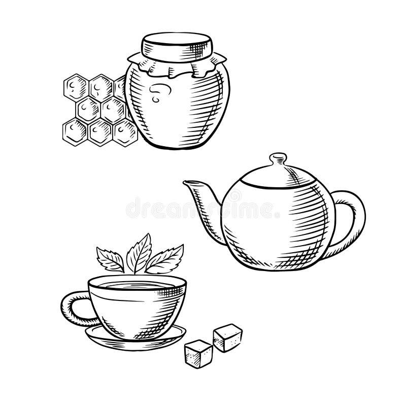 Filiżanka herbata, miodowy słój i teapot nakreślenia, ilustracji