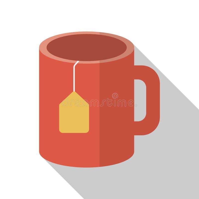 Filiżanka herbata na białym tle z długim cieniem ilustracji