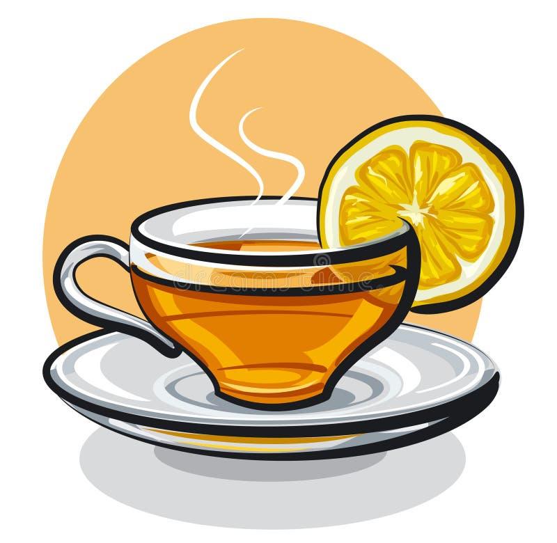 Filiżanka herbata z cytryną ilustracja wektor