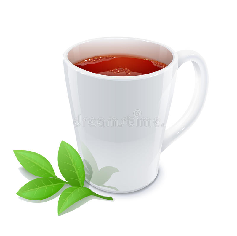 Filiżanka herbata z zielona herbata liśćmi ilustracji