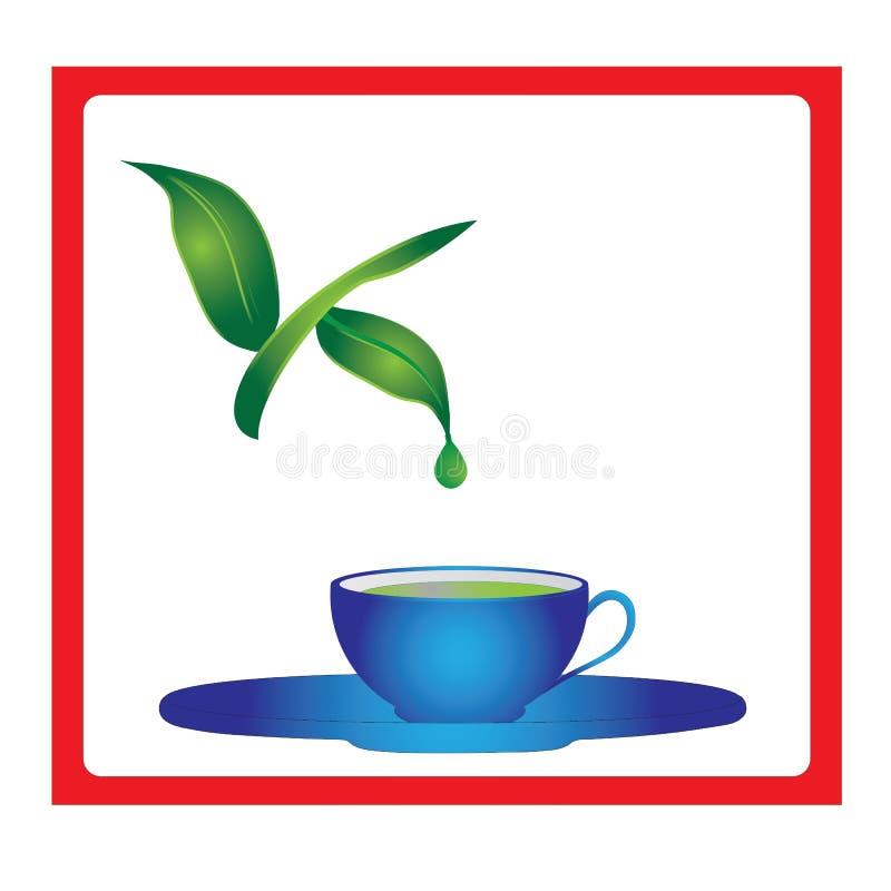Filiżanka herbata z zielona herbata liśćmi i zielona herbata opuszczamy ilustracja wektor