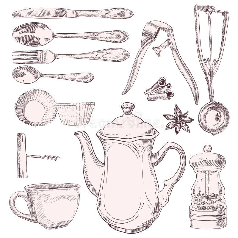 Filiżanka herbaty i rocznika kuchni naczynia ilustracja wektor