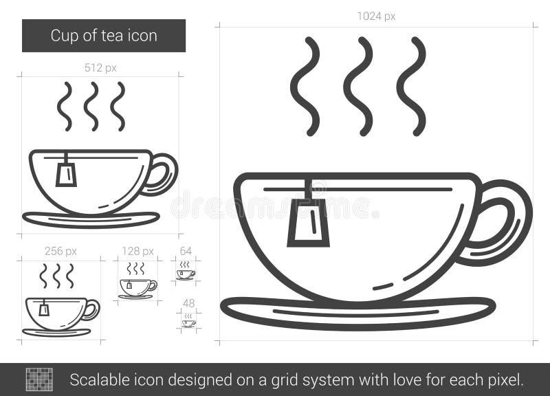 Filiżanka herbaty linii ikona royalty ilustracja