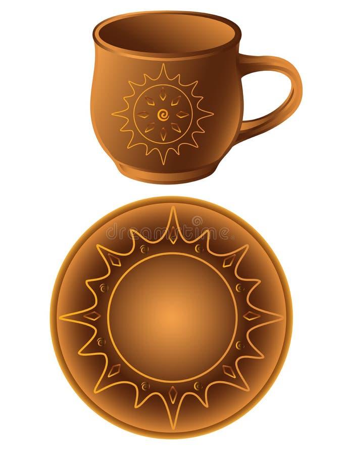 Filiżanka i spodeczek robić glina Ceramiczny spodeczek i filiżanka w etnicznym stylu garncarstwo Crockery z ornamentem Słoneczni  ilustracja wektor