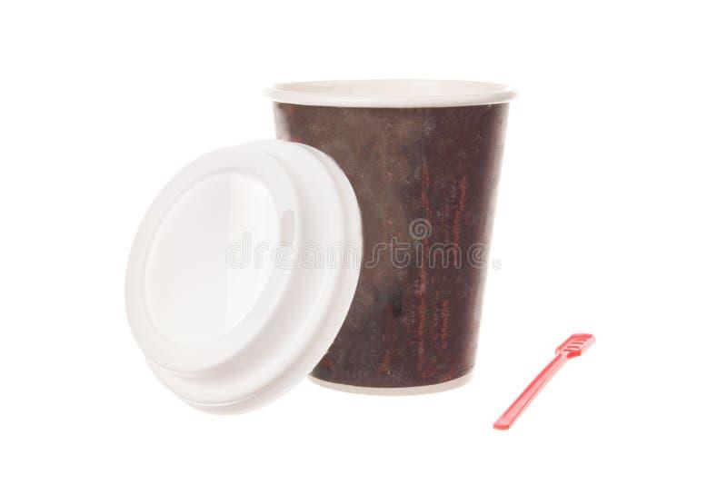 Filiżanka kawy dla bierze daleko od z nakrętką i łyżką fotografia stock