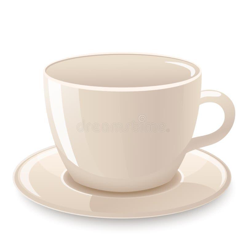 Filiżanka kawy, filiżanka odizolowywająca na bielu herbaciana ikona ilustracja wektor