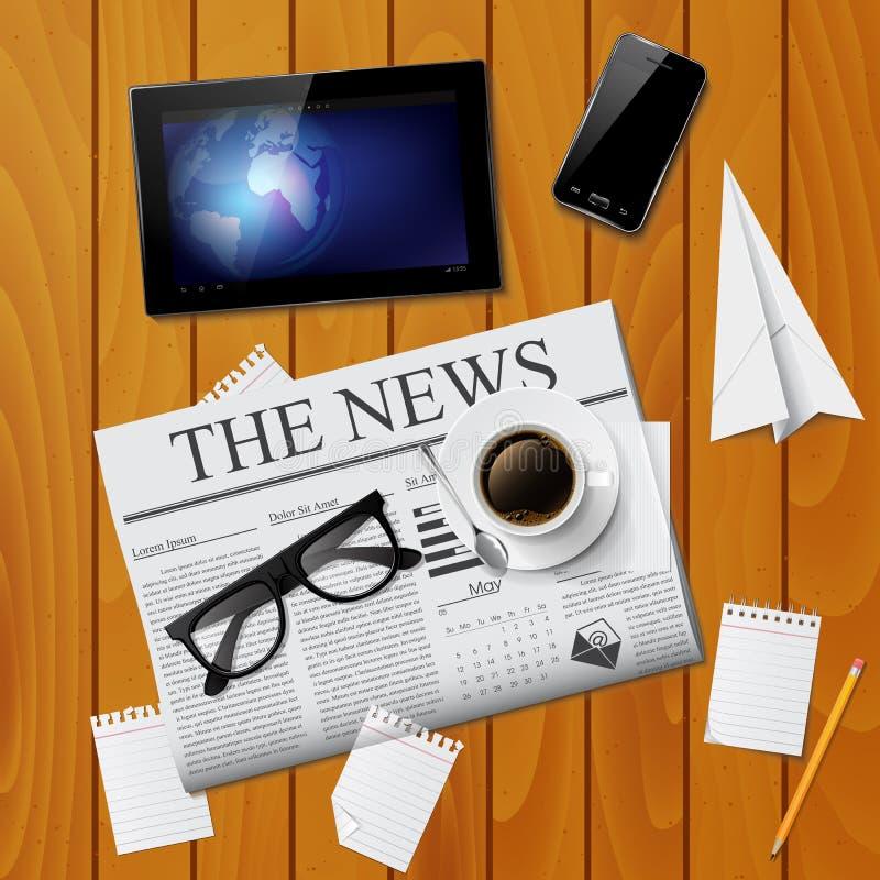 Filiżanka kawy, gazeta, pastylka, smartphone i szkła, royalty ilustracja