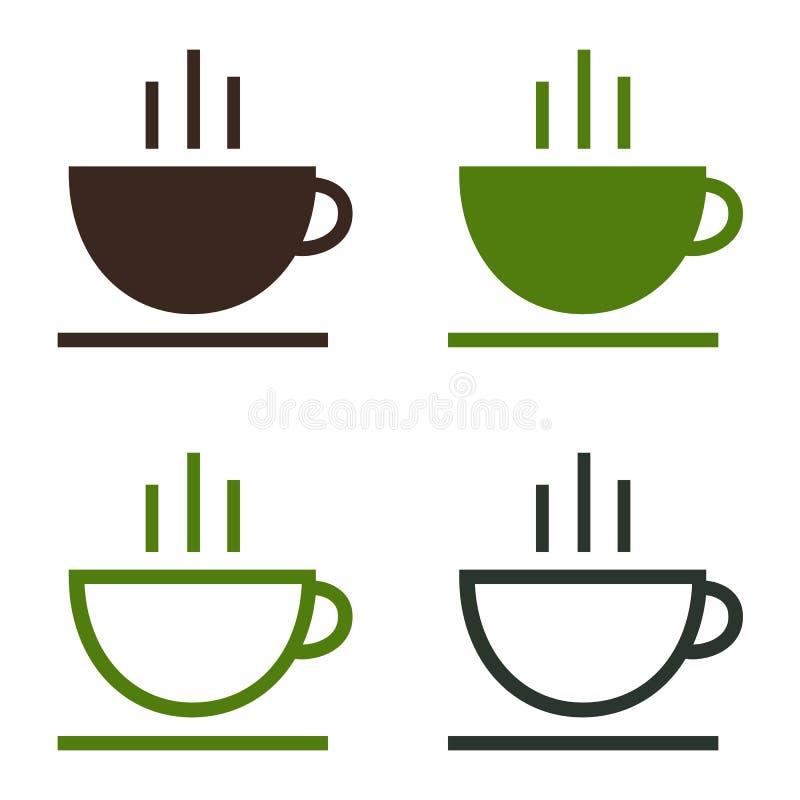 Filiżanka kawy herbacianego gorącego napoju ikony prosty set ilustracja wektor