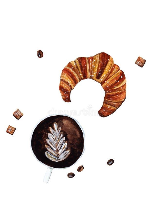 Filiżanka kawy i Croissant ilustracji