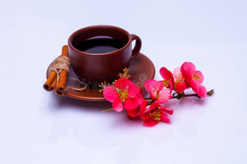 Filiżanka kawy i kwiaty obrazy royalty free