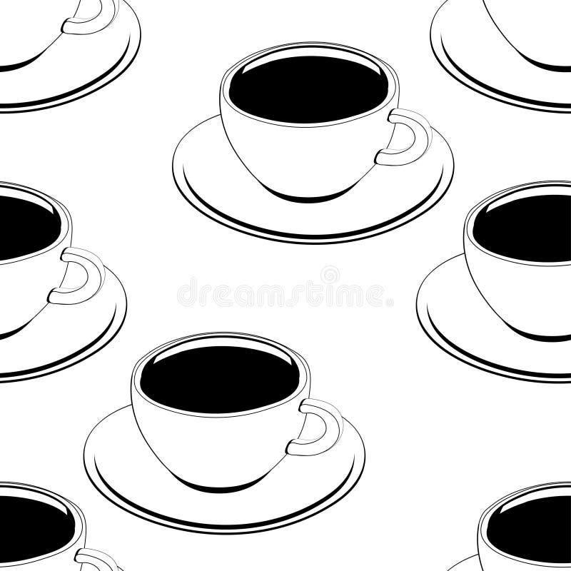 Filiżanka kawy konturu bezszwowy wzór, wektorowy tło, kolorystyka, nakreślenie, konturowy rysunek Patroszone filiżanki czarna kaw royalty ilustracja