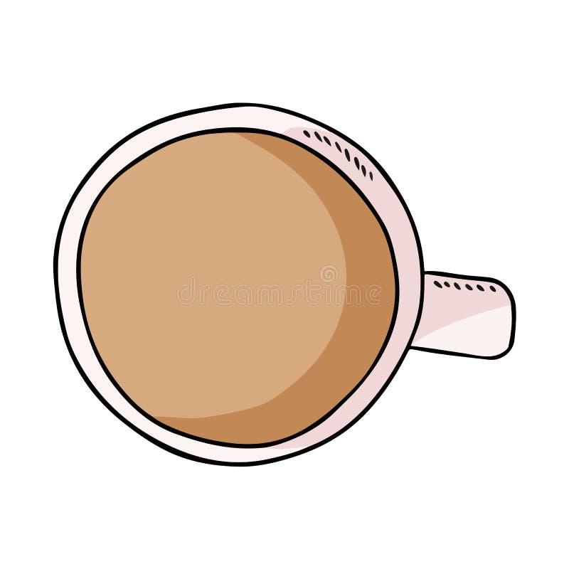 Filiżanka kawy lub herbata z mlekiem Ręka rysujący kreskówka stylu napoju napój royalty ilustracja
