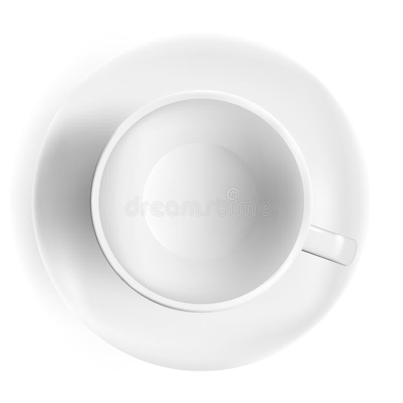 Filiżanka kawy, odgórny widok Realistyczna herbaciana filiżanka, biały tło Photorealistic filiżanka, wektorowa ilustracja royalty ilustracja