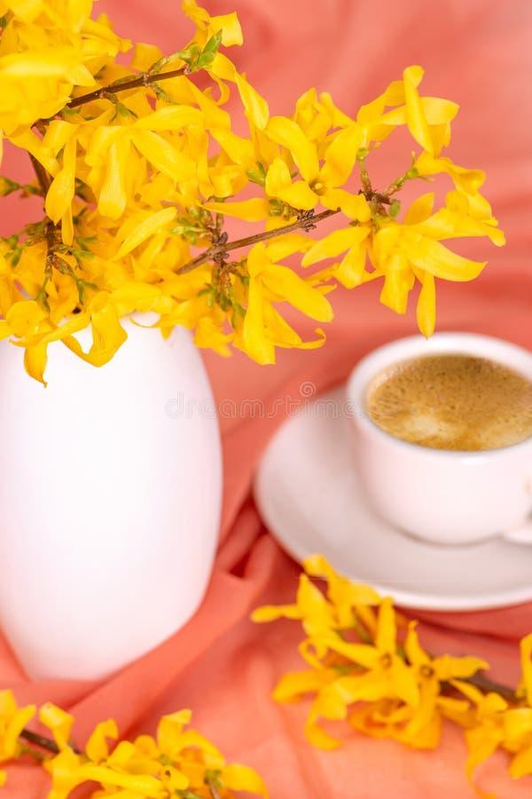 Filiżanka kawy stojaki na textural jedwabniczej pielusze delikatny kolor wazą z kwiecenie gałązkami forsycje zdjęcia stock