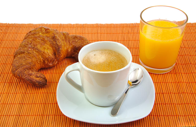 Filiżanka kawy, szklany sok pomarańczowy i francuz, zdjęcie stock
