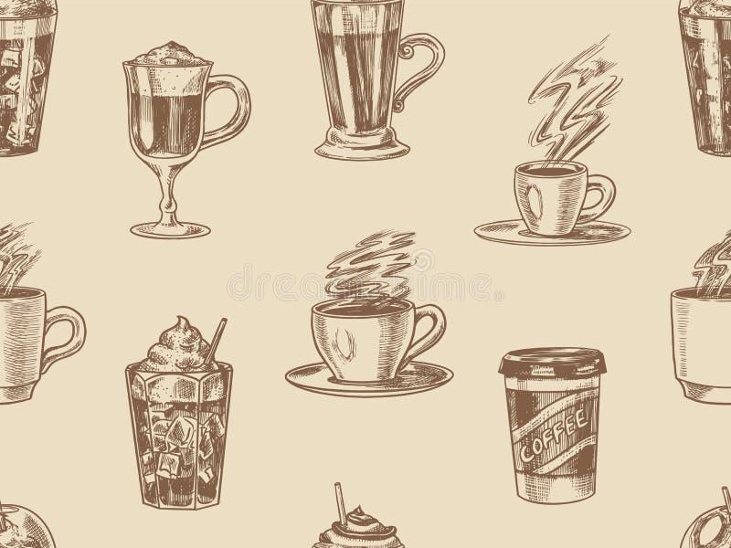 Filiżanka kawy tło w rocznika stylu bezszwowy wzoru Bierze oddalonego Cappuccino, kawę espresso i latte i Glace, mokka royalty ilustracja