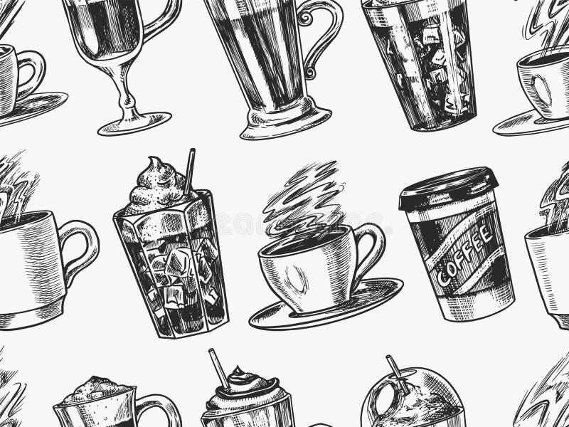 Filiżanka kawy tło w rocznika stylu bezszwowy wzoru Bierze oddalonego Cappuccino, kawę espresso i latte i Glace, mokka ilustracji