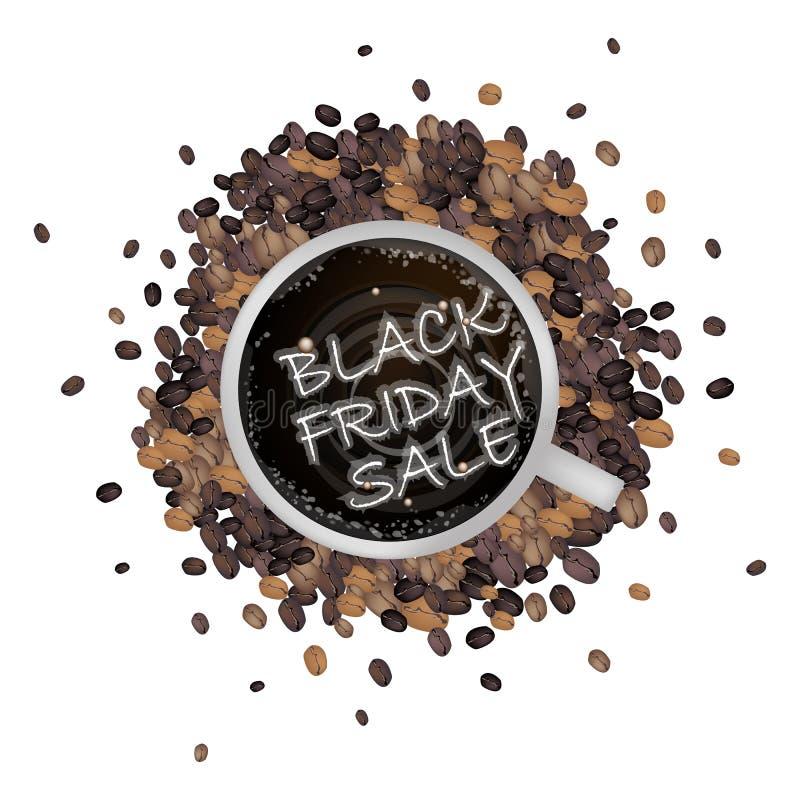 Filiżanka kawy z Black Friday sprzedaży słowem ilustracji